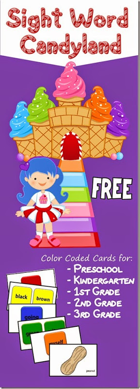 Candy Land is a fun childhood game. Now your kids can work on their sight words with this FREE printable version! Download your copy today! :: www.thriftyhomeschoolers.com