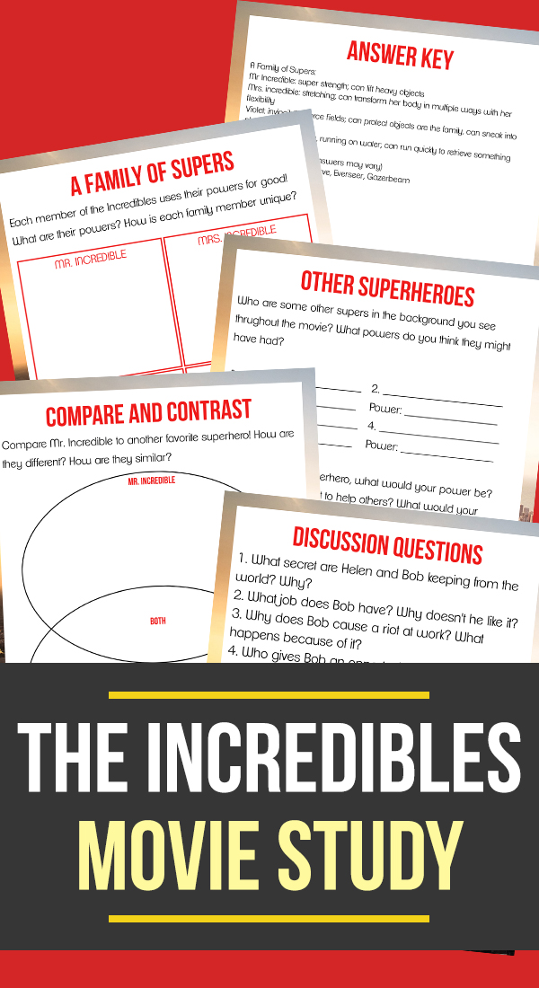 """Give your kids a reason to watch the original """"Incredibles"""" movie with this 'super' fun Movie Study and sneak in a little learning too! Includes 4 activity pages that will bust through their boredom! :: www.thriftyhomeschoolers.com"""