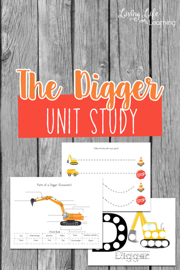 Most young children love construction vehicles. That's what makes this digger unit study such a gem. It is taking their interest and turning it into an amazing learning tool. Inside this packet, you will find vocabulary words, handwriting practice sheets, labeling pages and more.