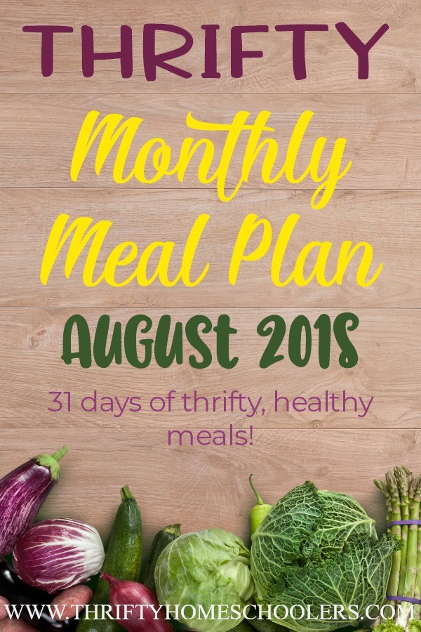 I am so excited to share our first ever THRIFTY Monthly Meal Plan! We have gathered 31 different meals for you, along with breakfast, lunch and snack options all while keeping the cost down! Head over now to download yours today! :: www.thriftyhomeschoolers.com
