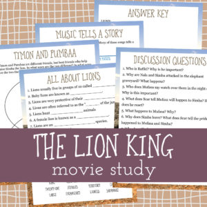 """If your kids love """"The Lion King"""" movie as much as mine, they are sure to love this fun movie study too! Have a fun movie day and sneak in a little learning too! :: www.thriftyhomeschoolers.com"""