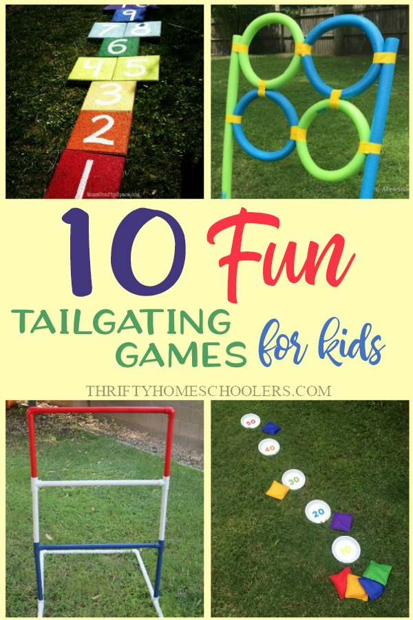 If you're gearing up for some tailgate parties, why not put together some fun DIY Tailgating games for the kids! These are simple games packed with hours of fun for everyone - not just kids! :: www.thriftyhomeschoolers.com