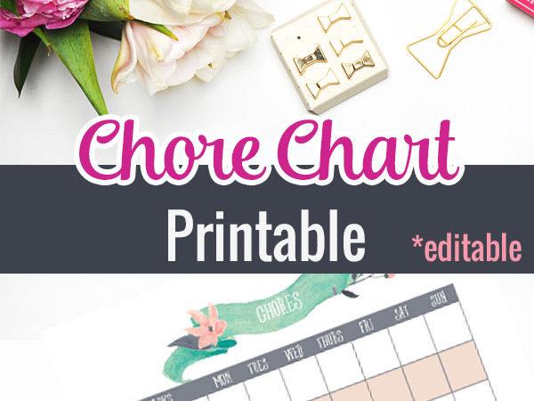 Editable Chore Chart Printable