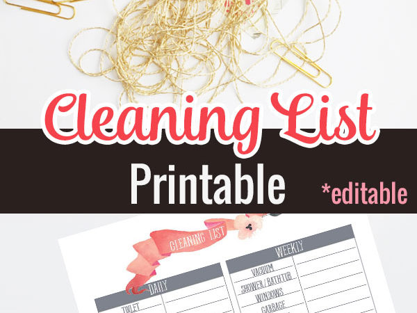 Free Cleaning List Printable
