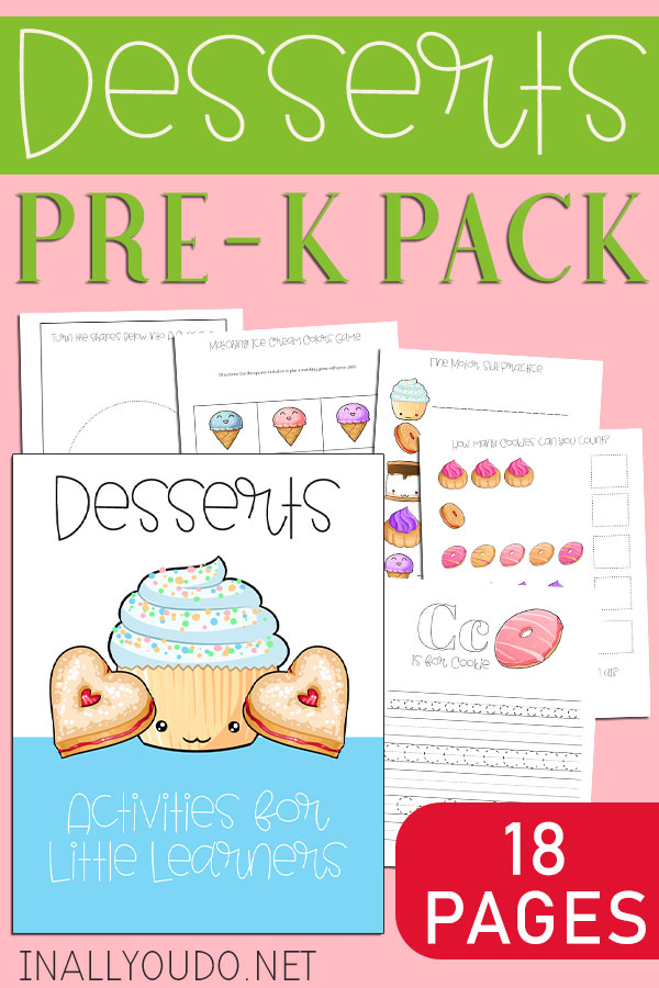 Desserts Preschool Printable Pack