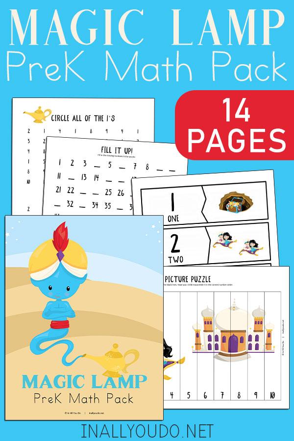 Aladdin Inspired Preschool Math Pack