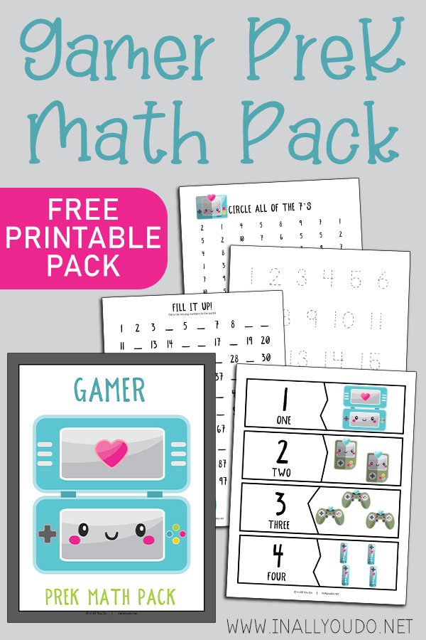 Free Gamer Preschool Math Pack