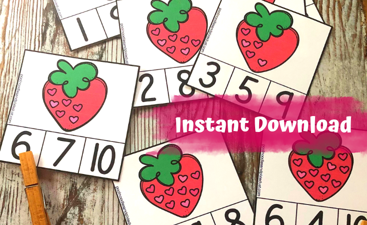 Strawberry Counting Clip Cards