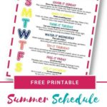 Free Summer Schedule for Kids